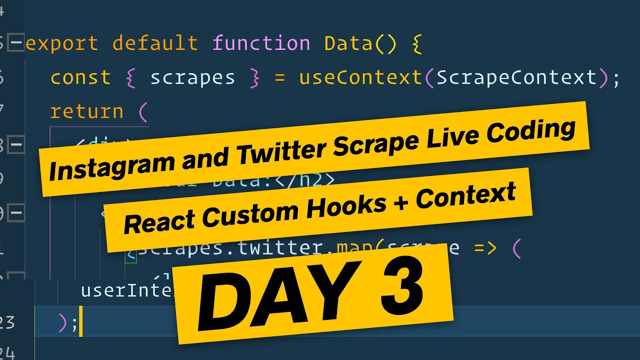 React js Frontend with Hooks and Context - Node js Scraper DAY 3