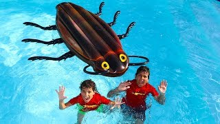 Kids Pretend Play ,Giant cockroach in our pool ! funny videos for kids ,LES BOYS TV2
