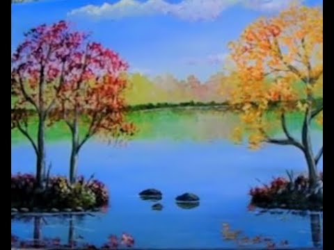 How to paint fall trees Beginner  acrylic painting lessons Fall Tree's, Lesson 3,