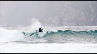 Gony Zubizarreta & Marlon Lipke surfing in Hoddevik, Norway