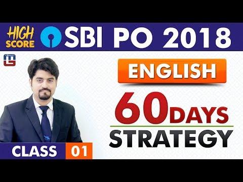 60 Days Strategy | English | Class 1 | High Score | SBI PO 2018 | 9:00 am