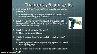 Ender's Game chapters 3-6 Study guide questions