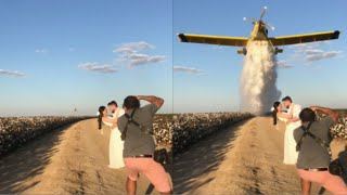 Plane Drops Water On Wedding Couple