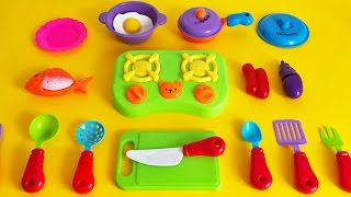 Toy kitchen soup cooking tableware sausage eggs pots pans toy kitchen stove