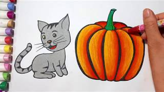 Pumpkin And Cat Coloring Pages For Kids