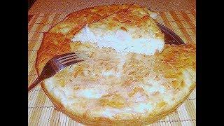 """Пирог с курицей (куриной грудкой) и сыром на """"скорую руку""""."""