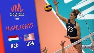 NETHERLANDS vs. USA - Highlights Women   Week 5   Volleyball Nations League 2019