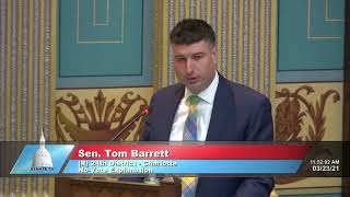 Sen. Barrett addresses the Senate on Hertel appointment and DHHS orders