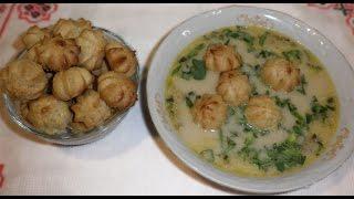 Профитроли \ Диетические профитроли для супа\ Рецепт низкокалорийного блюда