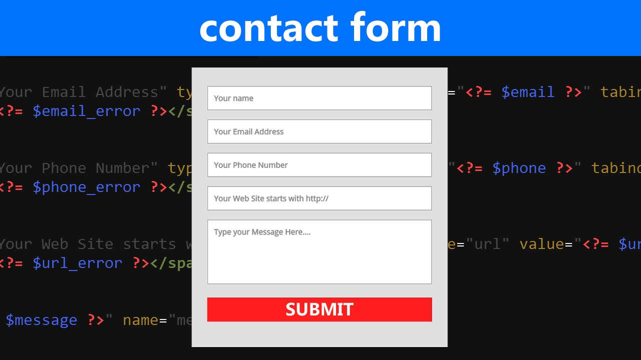 html php contact form tutorial with validation and email submit