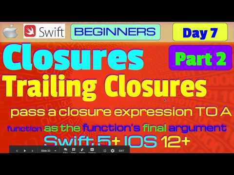 IOS, Swift 5, Interview Theory, Tutorial, #07 P2: Closures ( Trailing Closures ) thumbnail