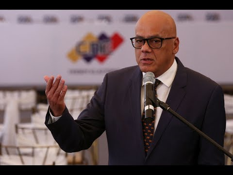 Jorge Rodríguez, rueda de prensa 1 marzo 2018 tras firmar acuerdo en CNE con oposición