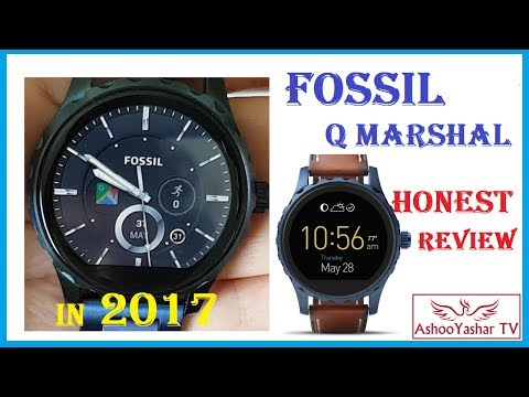Fossil Q Marshal smartwatch review in 2017 with android wear 2.0 - stainless steel blue smart watch!