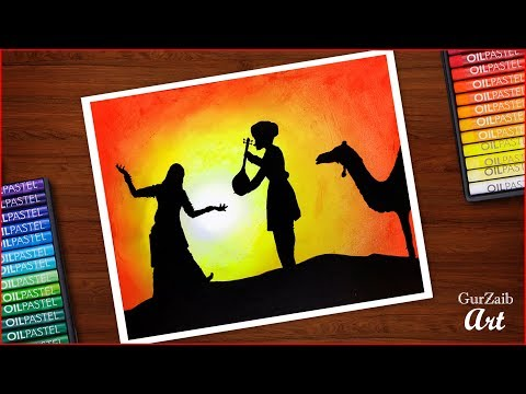indian-culture-drawing-with-oil-pastels-||-how-to-draw-rajasthani-dance-painting