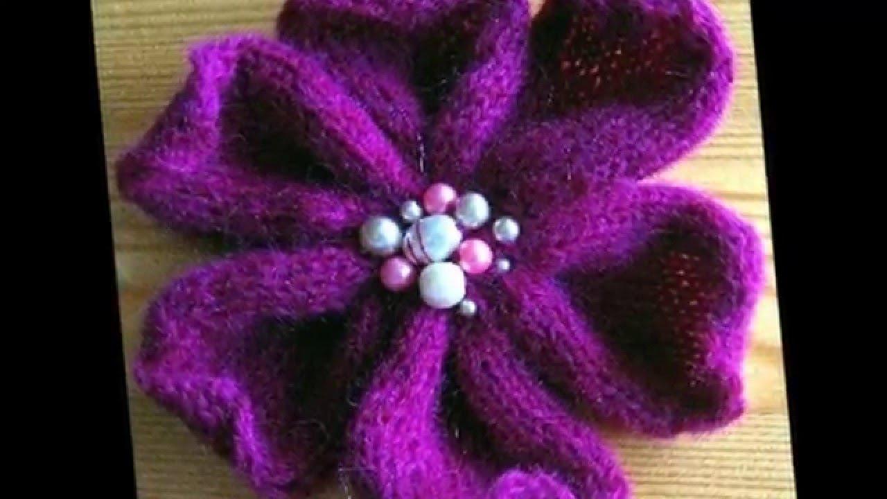 Вязаный цветок спицами схема фото 548