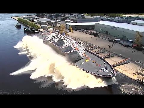 US Navy Launches New Warship Sideways Into Water — USS Billings Christening And Launch