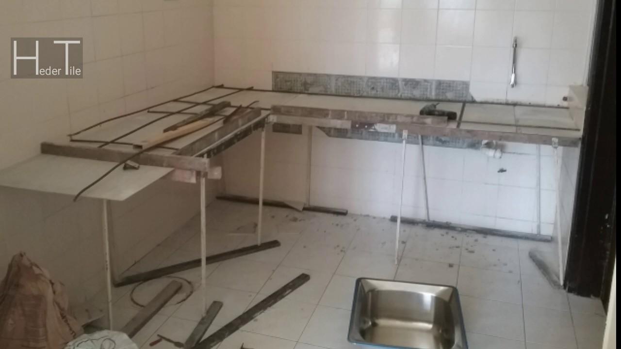 Pembuatan Table Top Meja Dapur Konkrit 12kaki Panjang Tile 2 Warna Hitam Di Mahkota Cheras