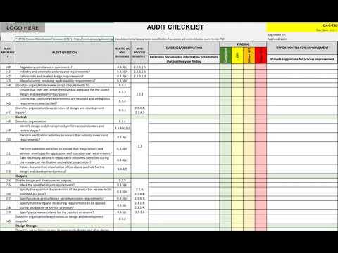 Audit Checklist Template | Audit Checklist Template Youtube