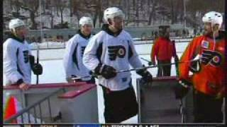 Philadelphia Flyers OutDoor Hockey Practice in New York Central Park 1/15/2011