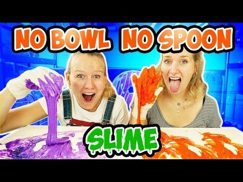 SCHLEIM OHNE SCHÜSSEL & LÖFFEL CHALLENGE - No Bowl No Spoon Slime -Nina + Kathi Machen Alles Dreckig