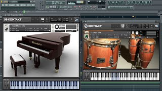 Kontakt Plug-in VST : Grand Piano & Conga Tone ( Salsa Music In Fl Studio )