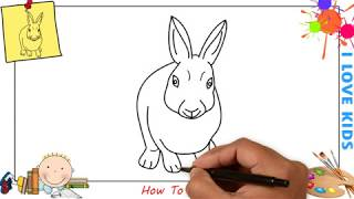 How to draw a rabbit (bunny) EASY step by step for kids, beginners, children 3