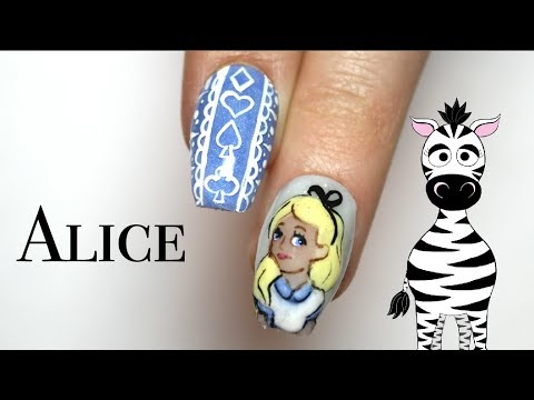 3D Alice Acrylic Nail Art Tutorial | Alice in Wonderland | Disney Princess Series thumbnail