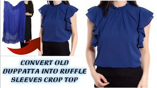 DIY: Convert Old Duppatta Into ruffle sleeve crop top in 2 Minutes