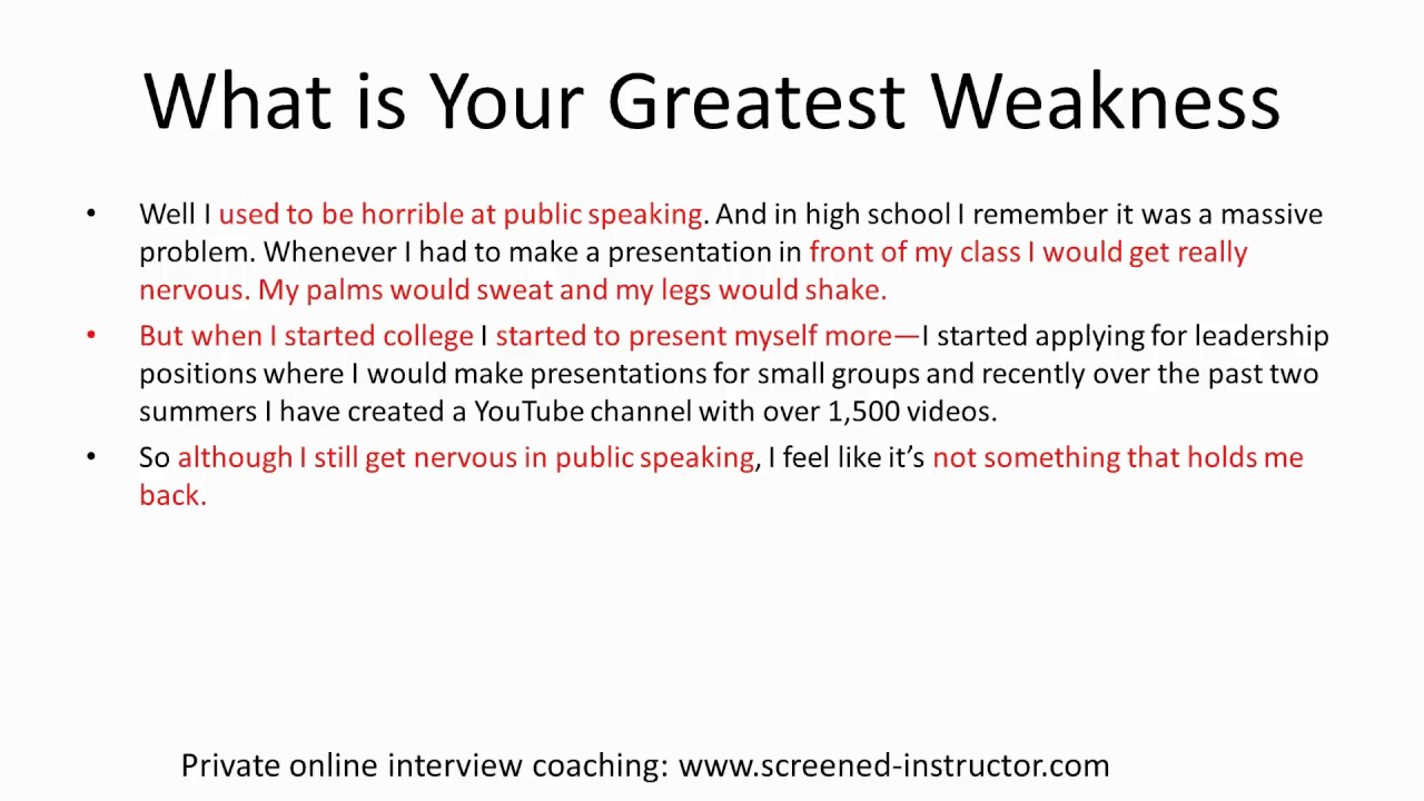 weakness for interview examples