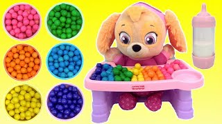 Paw Patrol SKYE Baby M&Ms Bath, High Chair Eat Ice Cream Dessert, Bedtime Music Sound / TUYC Jr.