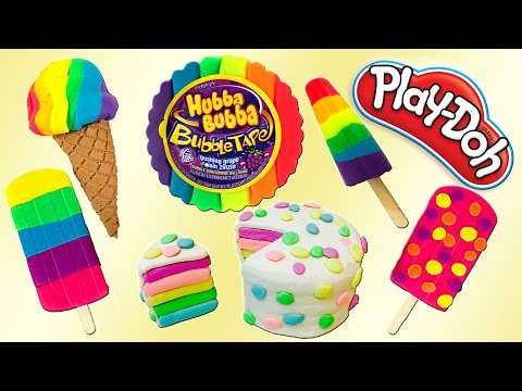 National Play Doh Day! Play Doh Rainbow Desserts, Ice Cream, Cakes, Bubble Tape How To SUPER DIY!