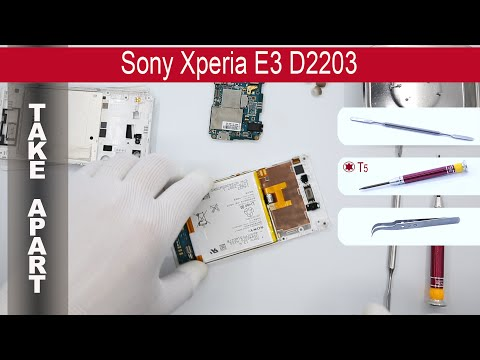 How to disassemble 📱 Sony Xperia E3 D2202, D2203, D2206, Take Apart, Tutorial