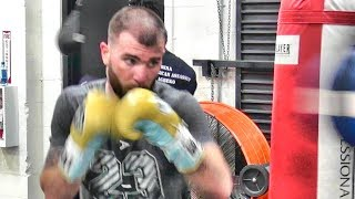 Caleb Plant getting in work inside the Mayweather Boxing Club