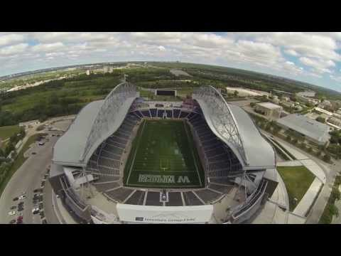 Quadcopter with GoPro at Investors Group Field, Winnipeg