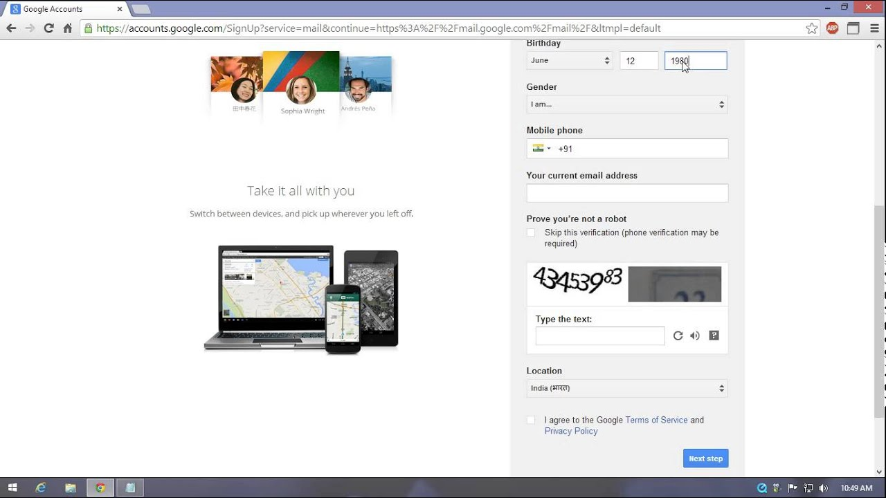 how to create a gmail account without mobile no
