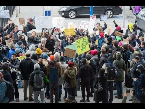 Protests JFK Airport Refugees Detained at JFK Outside Protesters