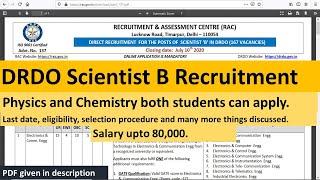 DRDO Scientist 'B' Recruitment 2020   Check details   Physics & Chemistry Jobs