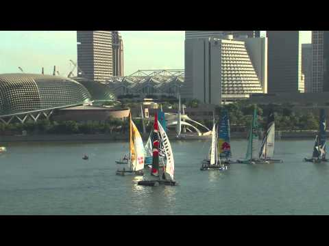 2013 Act 2 ExSS Singapore Alinghi skipper Morgan Larson talks from the Extreme Sailing Series.