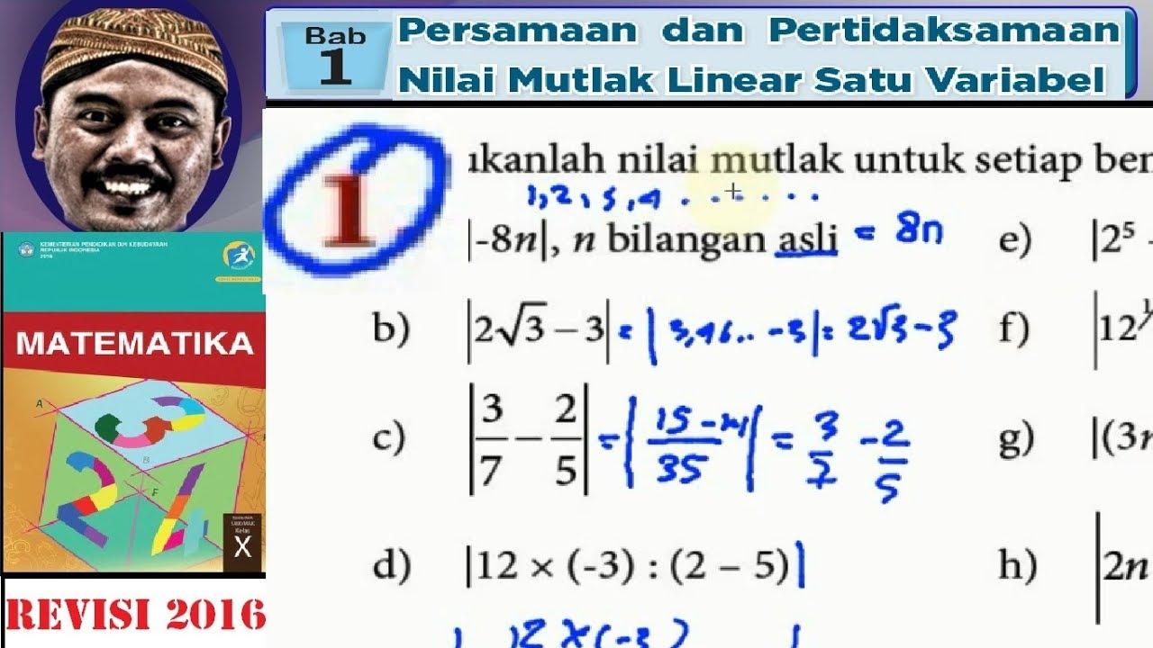 Nilai Mutlak Persamaan Dan Pertidaksamaan Bse Matematika Kelas