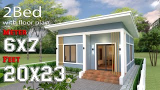 Small House Design 6x7 Meters  Shed Roof 20x23 Feet Full Plans