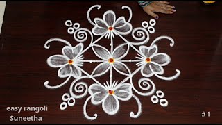 2 Different Style kolam rangoli Art designs || easy & simple muggulu rangoli ||   Indian Art Designs