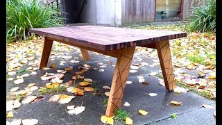 The basic coffee table, oak and walnut, with inlays