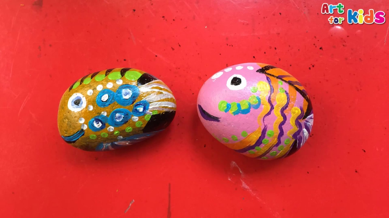 How To Paint A Cute Fish On Rock