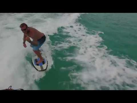 Wakesurfing with a dolphin, Turks & Caicos