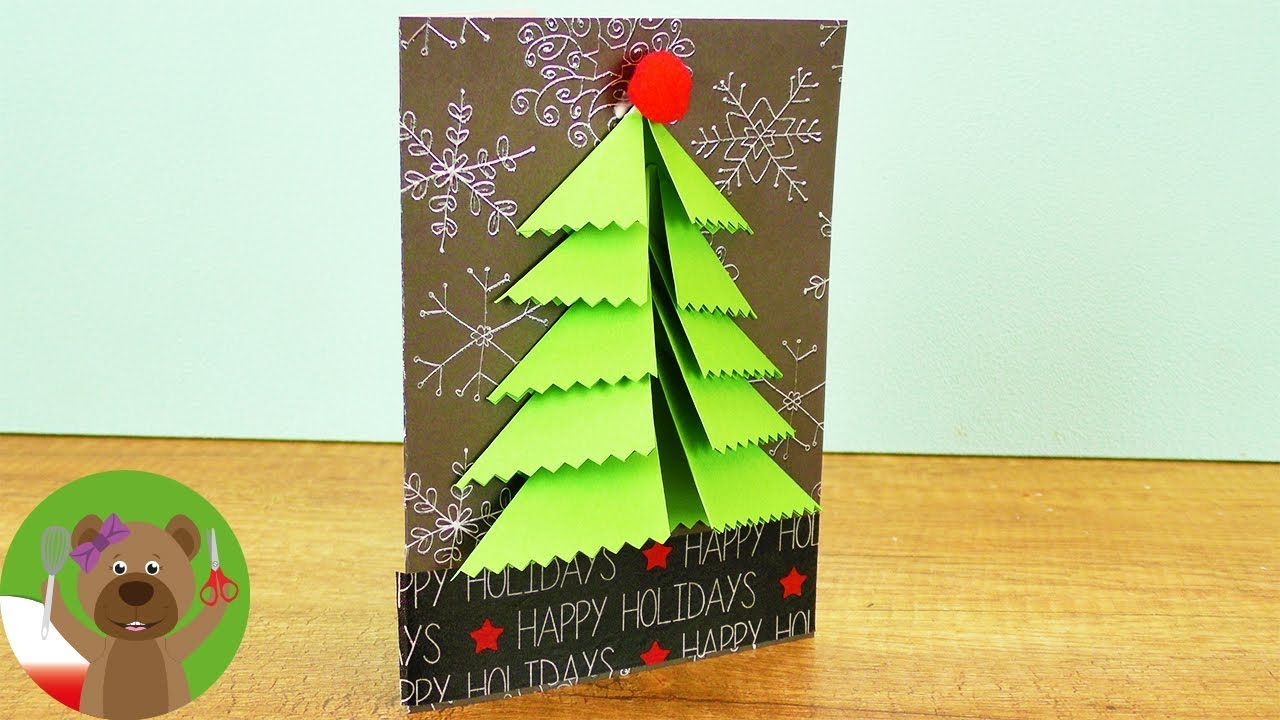 DIY kartka świąteczna | Piękna kartka z choinką 3D