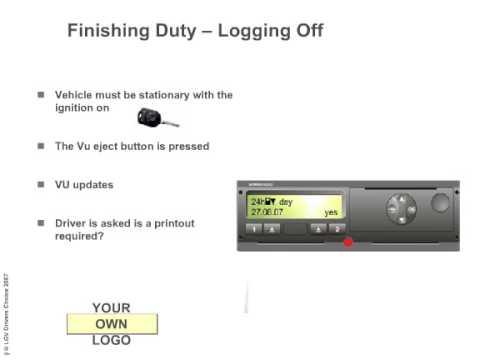 digital tachographs finishing duty logging off youtube. Black Bedroom Furniture Sets. Home Design Ideas