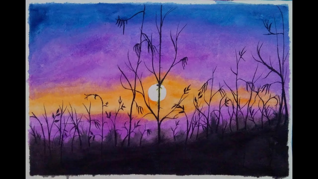Watercolor Painting Purple Sunset