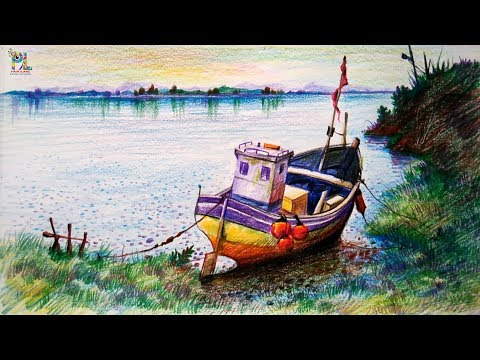 Learn How To Draw Colored Boat In Simple Landscape With Color Pencils