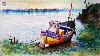 Learn How To Draw & Colored A Boat In A Simple Landscape With COLOR PENCILS | Pencil Shading