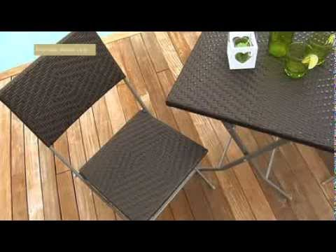 Set de balcon riverside wicker line collection jardin - Table balcon pliante rabattable ...